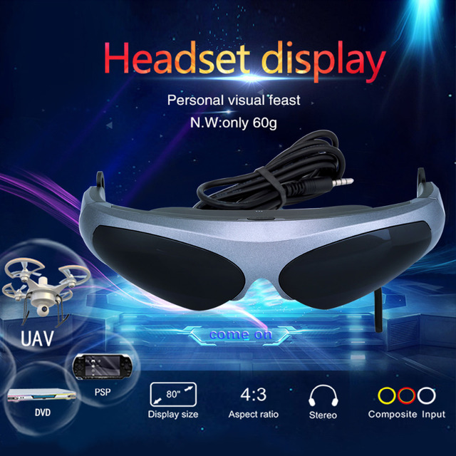 "Excelvan 922A FPV glasses Virtual Reality Video Glasses VR 80"" HD Screen 640*480 Resolution FPV Goggle For Multicopter Drone"