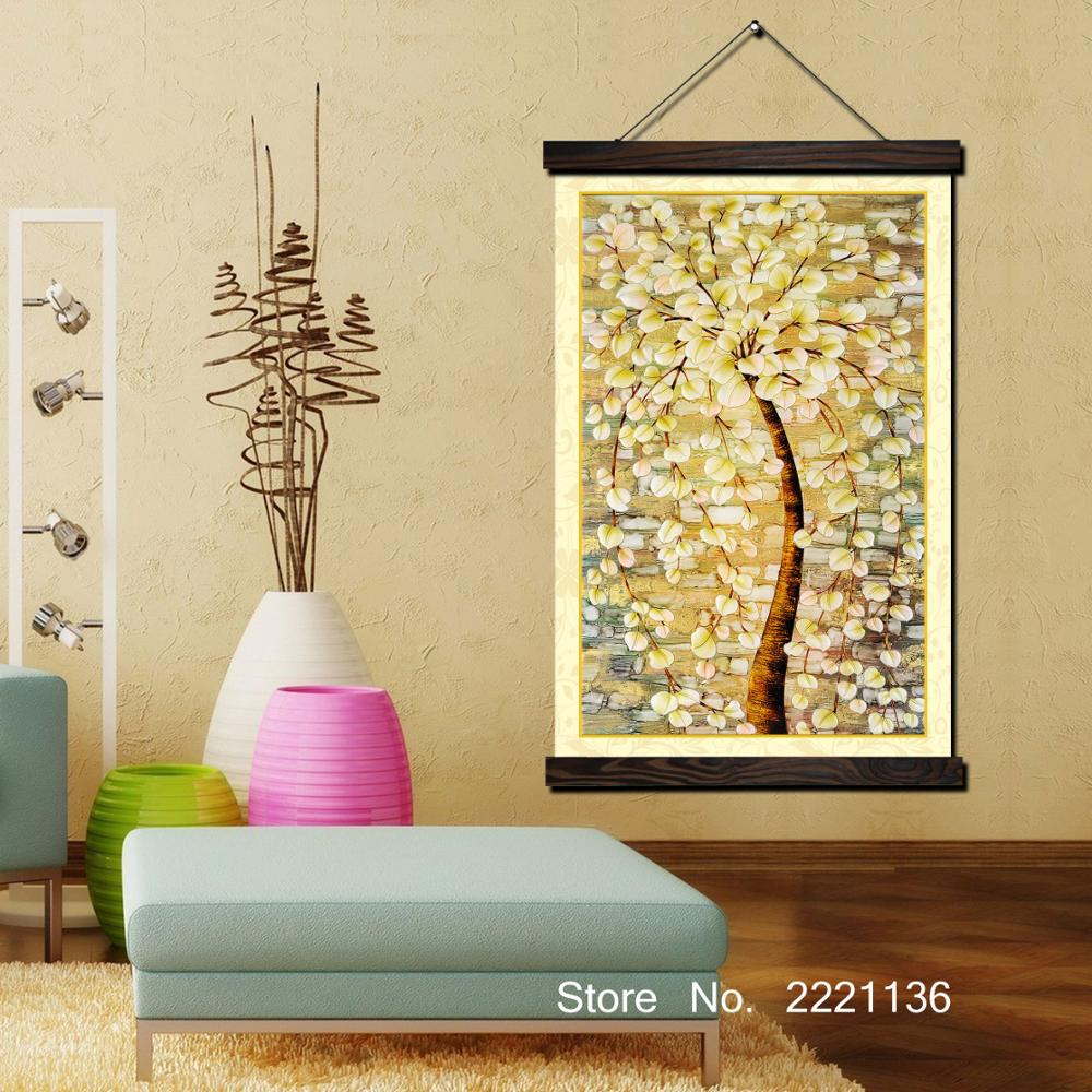 Golden Money Tree Framed Scroll Painting HD Wall Art Hanging Canvas Printed Pictures for Living Room Decoration
