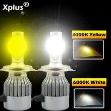 Xplus C6 желтый 2 шт.* 36W COB светодиодный светильник 12V H1 H3 H4 H7 H8 H9 H10 H11 9 HB3 HB4 автомобилей головной светильник комплект спереди светильник лампы противотуманные фары лампы