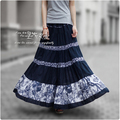 2017 50s Vintage Summer Skirts Womens Pleated Cotton Linen Skirt Floral Print Bohemian Skirt