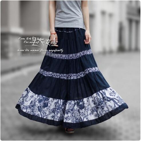 2017 50s Vintage Summer Skirts Womens Pleated Cotton Linen Skirt Floral Print Bohemian Skirt