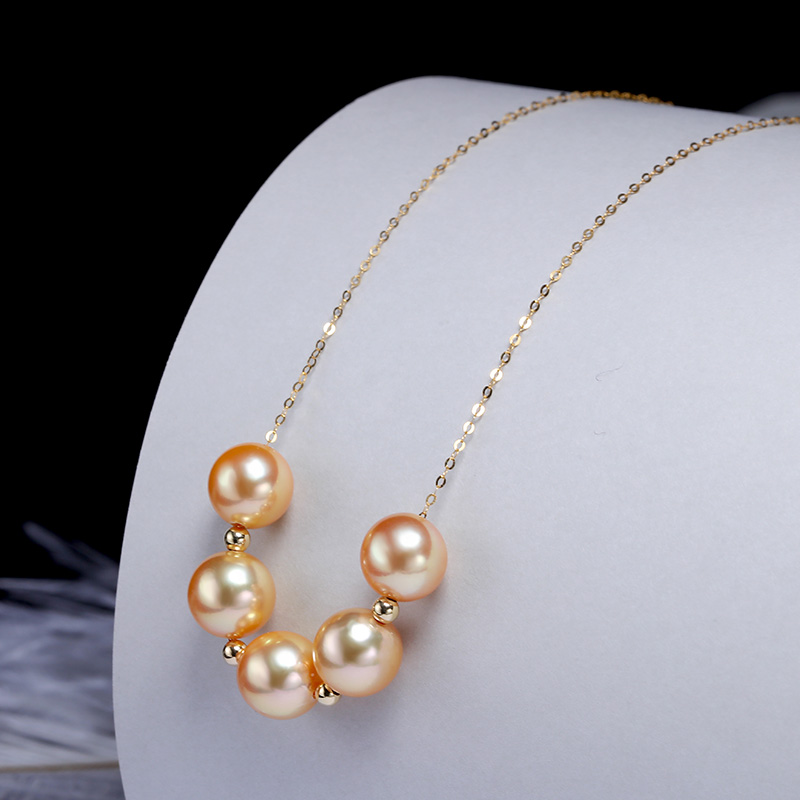 Image 3 - YS 18 k 純金海水養殖 8 9 ミリメートルアコヤ Hanadama 真珠のネックレスネックレス   -