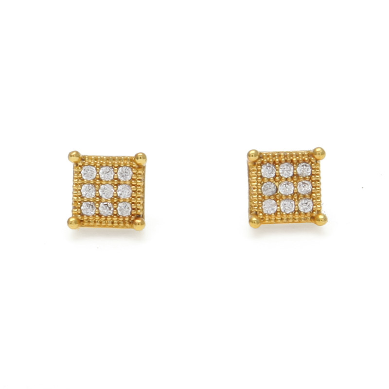 Square Gold Color Micro-inlaid Zircon Stud Earrings Hot Sale Fashion Men Earings Jewelry High Quality Party Gifts