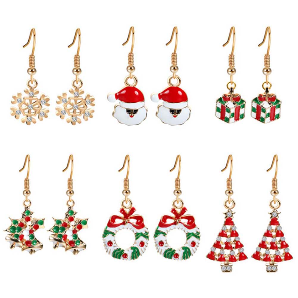 zheFanku 6 pairs /set Santa Claus Snowflake Christmas Gift Earrings For Woman 6 Styles Avalaible New Cute Earrings plus size christmas santa claus snowflake hoodie