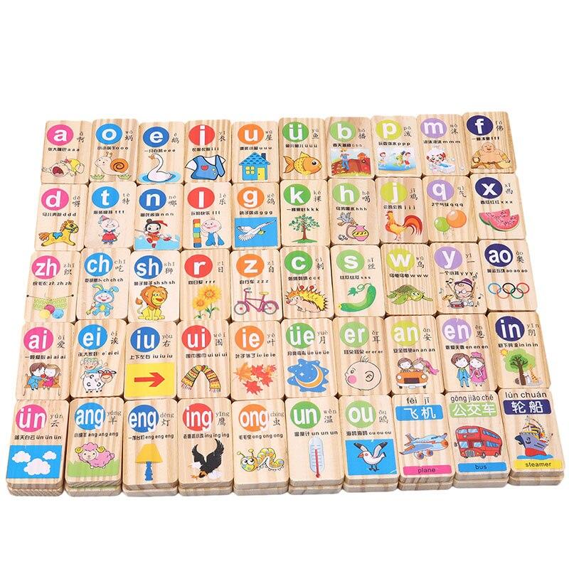 100 Pcs/set Standard Holz Domino Chinesischen Pinyin Digitale Domino Blöcke Kinder Pädagogisches Spielzeug Für Kinder