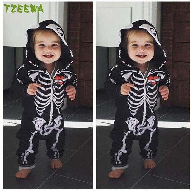Peuter Halloween.Baby Rompertjes Peuter Kleding Kids Halloween Hoodie Zip Jumpsuit Lange Mouw Herfst Katoenen