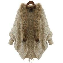 Módní dámský vlněný rozepnutý svetr s dlouhým rukávem a kožešinou