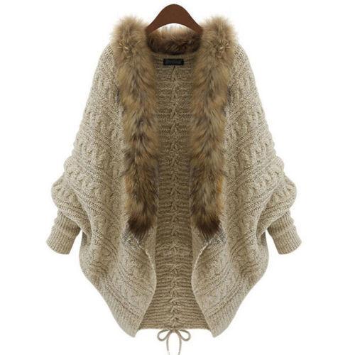 2015 moda inverno de lã casaco Cardigan casaco Poncho Ladies Casual exteriores bege solto quente mulheres de malha suéter