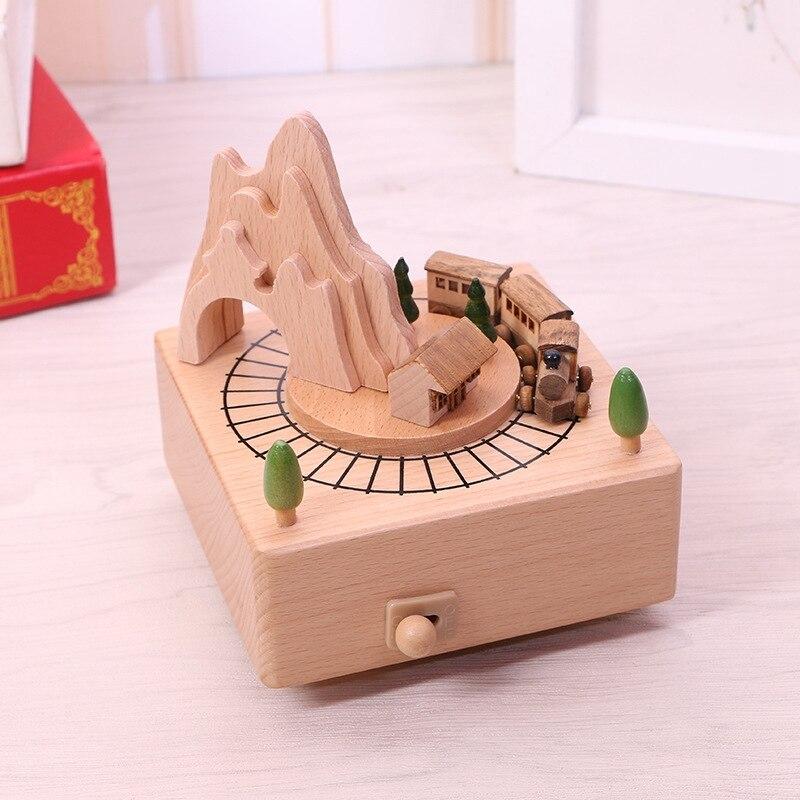 Bois arbre de noël boîte à musique décoration de la maison artisanat mouvement boîte à musique créative noël carrousel mécanisme musical