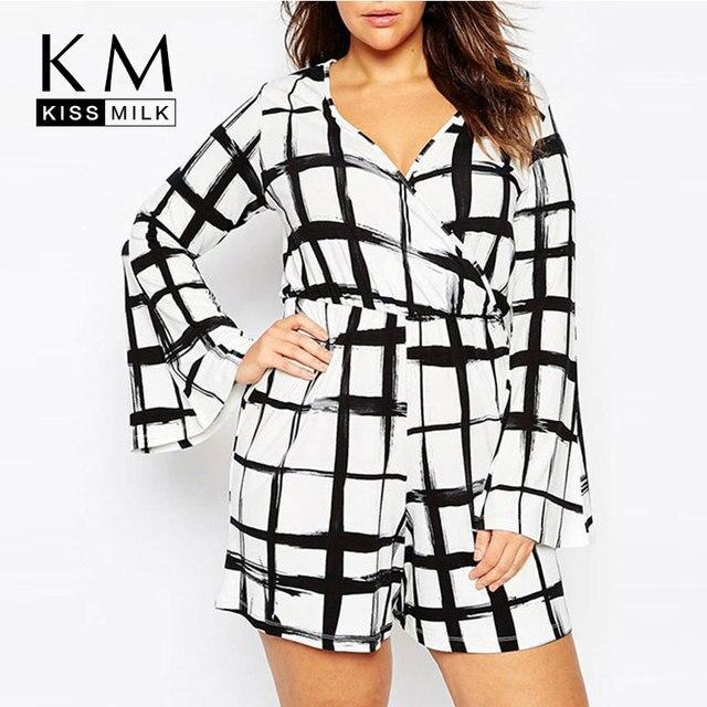 Kissmilk 2017 das mulheres plus size xadrez preto-branco sexy profundo decote em v tamanho grande big flare manga romper magro curto macacão