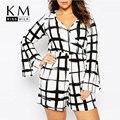 Kissmilk 2017 talles para las mujeres a cuadros blanco y negro sexy profundo cuello en v gran tamaño grande flare manga mameluco delgado mono del cortocircuito