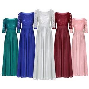Image 2 - Vestidos da dama de honra, elegante, feminino, meia mangas, bordado, renda, chiffon, longo, para festa de casamento, baile, dama de honra, formal