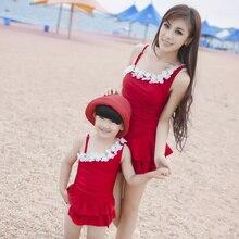 Для мамы и дочь купальный костюм девочки и женщины цельный семья пляж плавание комплект с цветок красный розовый синий