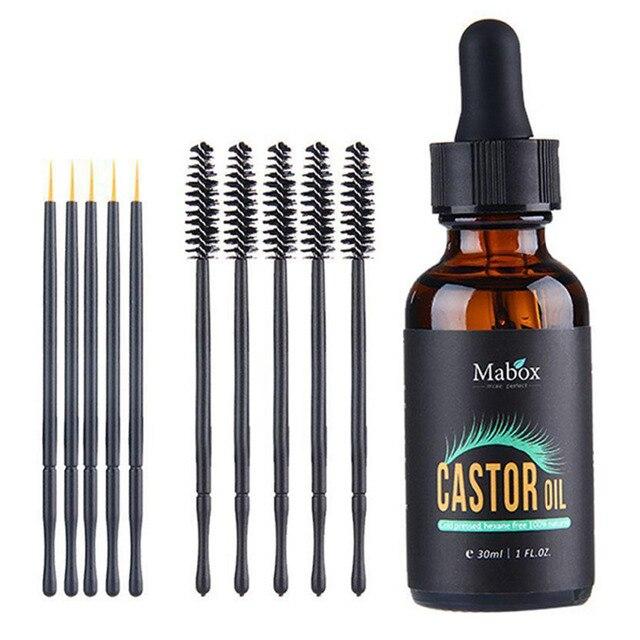 original 30ML natural castor oil eyelash eyebrow growth enhancer serum mascara brush with eyelash brush and eyebrow brushes 2019