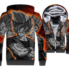 New Winter Thick Anime Hoodies 2018 Long Sleeve Sweatshirts Dragon Ball Z 3D Hip Hop Zipper Fleece Tracksuit Casual Coat