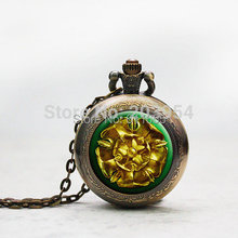 Game of thrones House Tyrell pocket watches quartz 1pcs/lot golden rose on a gre