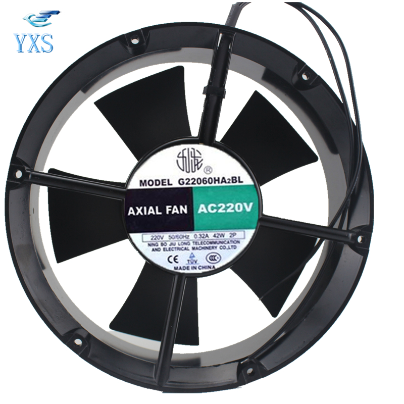 G22060HA2BL AC 220V 0.32A 42W 50/60HZ 22060 22CM 220*220*60mm Double Ball Bearing Axial Cooling Fan