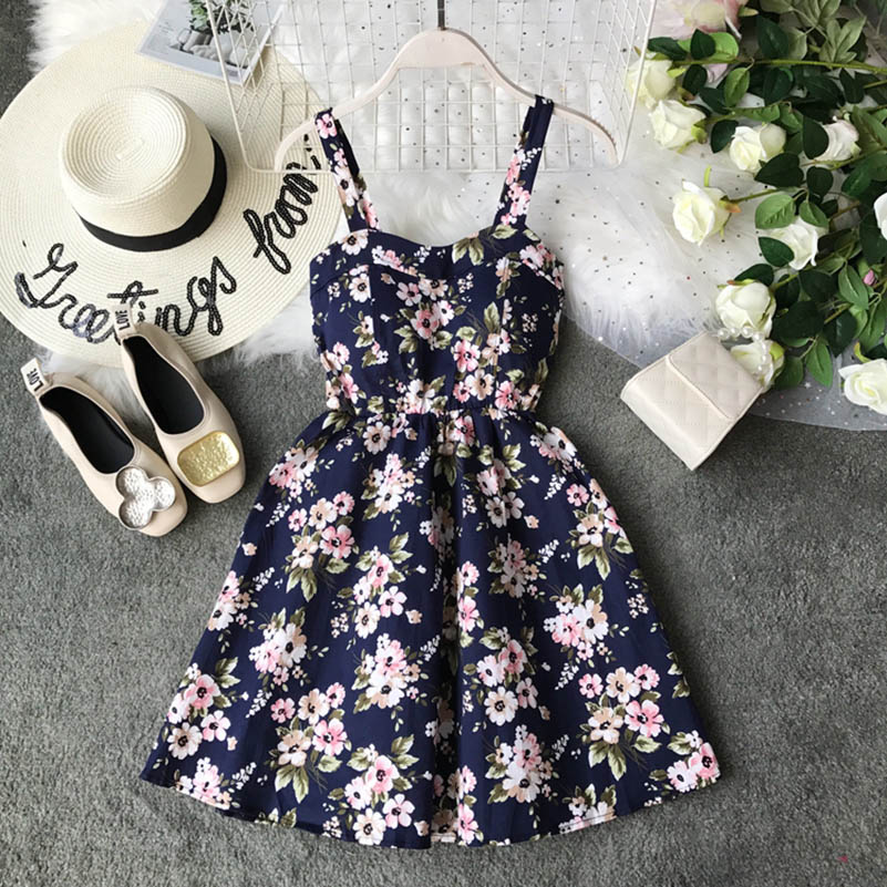 Boho 2019 Floral Print Vintage Spaghetti Strap Summer Mini Short rompe Party Polka Dot Casual Women Beach Holiday Retro Vestiods in Rompers from Women 39 s Clothing