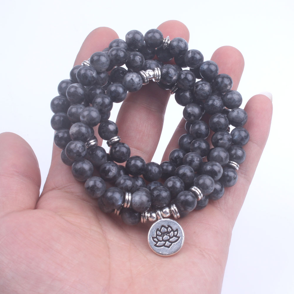 108 Bead Labradorite Mala Necklace (Buddha, Lotus, or OM) 1