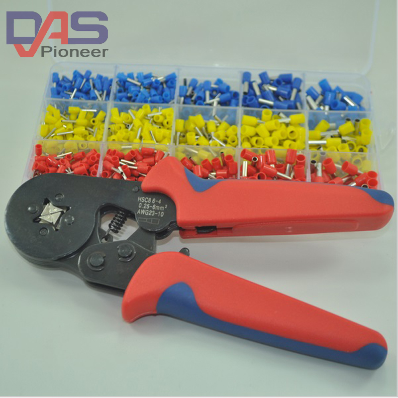 1000pcs/lot  cooper  Ferrules  set Wire crimp terminal connector  with Ferrule Crimp plier 0.25-4mm free shipping 1000pcs bootlace ferrule kit electrical crimp crimper cord wire end terminal
