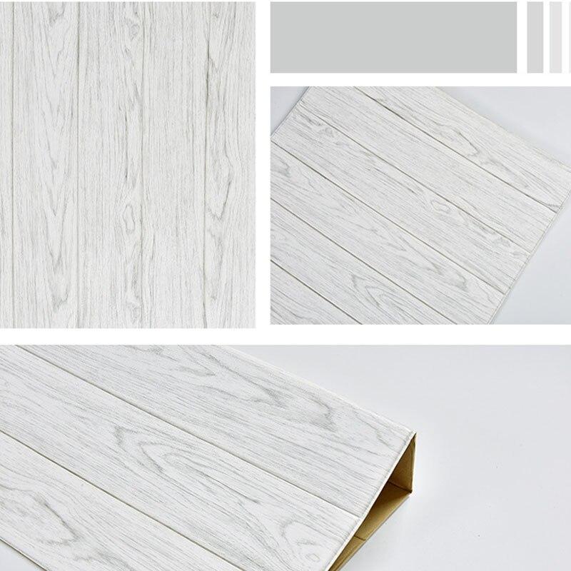 Image 4 - 3D en bois autocollant mural salon décor à la maison PE mousse  imperméable revêtement mural papier peint pour fond TV chambre denfants  60*60cmStickers muraux