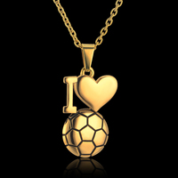 Enamel Soccer Ball Necklace Gold Color I Love Football Pendant Necklaces Hip Hop Women/Men Jewelry Stainless Steel Collar Men