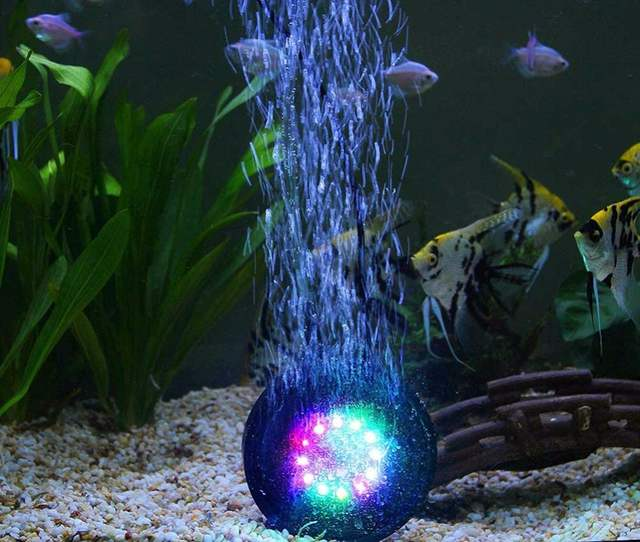 Online Shop Nicrew 12 Colors Underwater Round Fish Tank Lamp