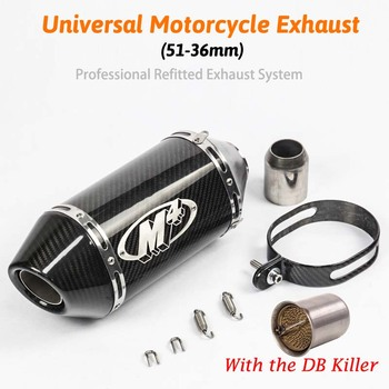 Tubo de silenciador para motocicleta escape de fibra de carbono, 51mm, 250cc, 500cc, 600cc, 750cc, 800cc, MT09/07, M4, Z750/800, R6