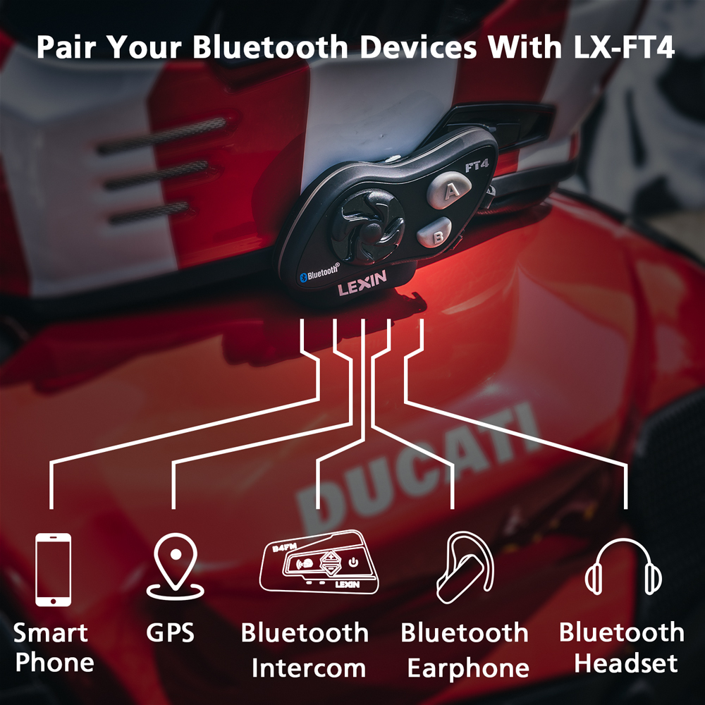 2019 LEXIN LX-FT4 2PCS 1-4 Rider Motorcycle Bluetooth Helmet Headset Intercom with FM radio for Motorcycle/Off-Road/Snowmobile