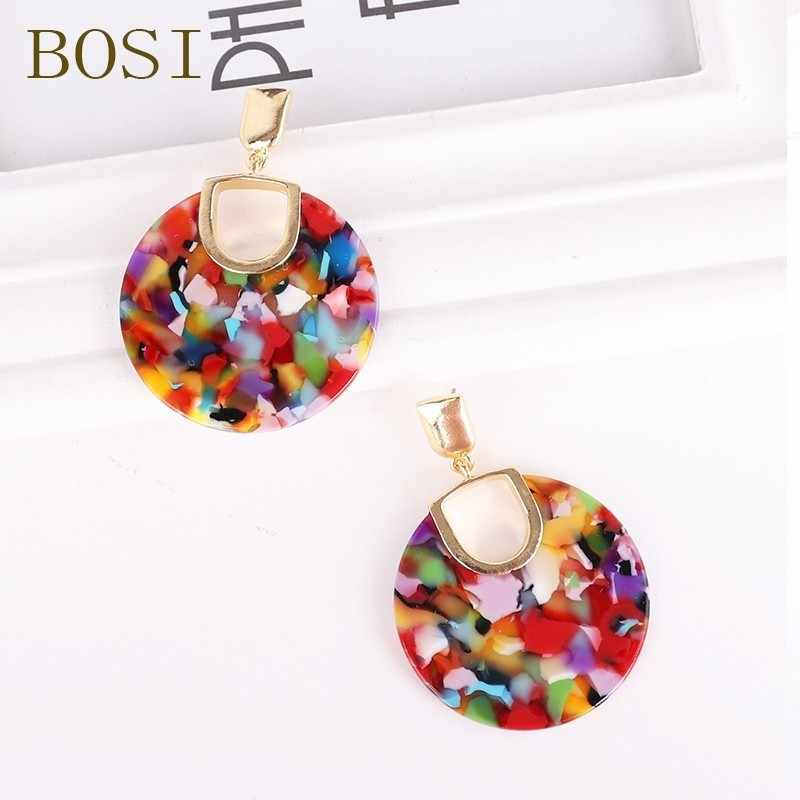 Bohemia Colorful Resin Round Acrylic Dangle Earrings for Women 2019 Design Gold metal Shape Statement Earrings Wedding Jewelry