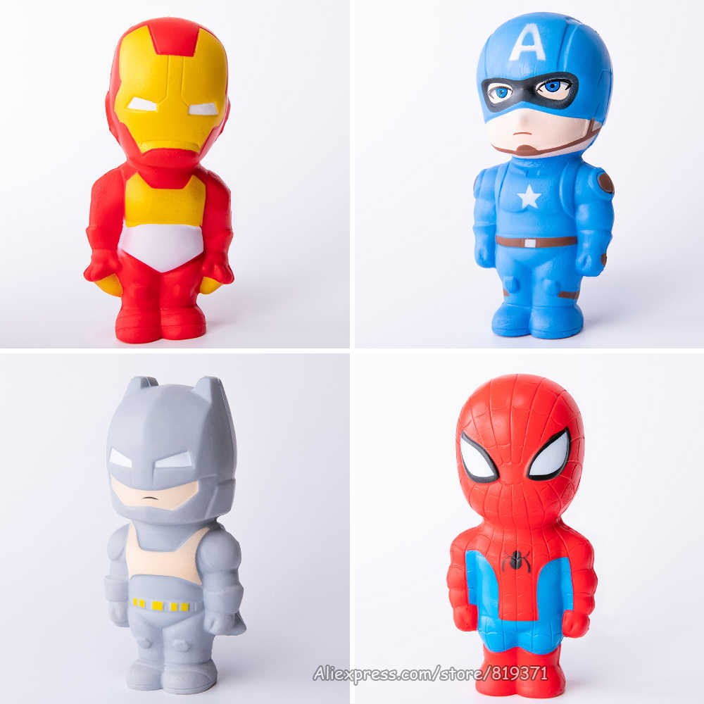 Super Hero Squishy Slow Rising Batman Captain America Iron Man Spiderman Squishies Toy Jumbo Squeeze Stress Relief Toys For Kid
