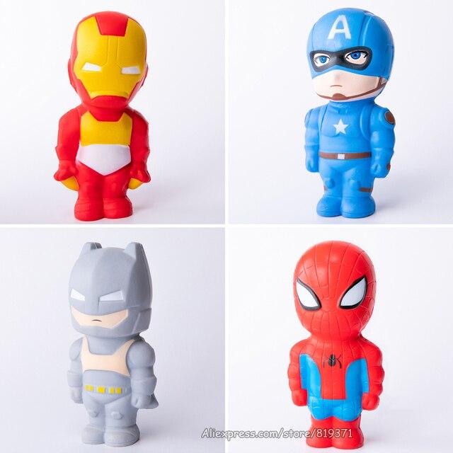 Super Herói Batman Capitão América Homem De Ferro Homem Aranha Squishies Squishy Lento Subindo Jumbo Brinquedo Squeeze Stress Relief Brinquedos Para O Miúdo
