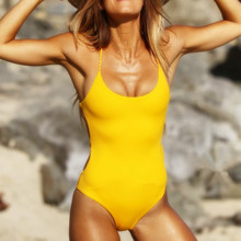 2019 IFLYING Women One Piece Swimsuit Bikinis Black Yellow Push UP Solid V Padded Bandage Bathing suit Sexy swimwear bikini