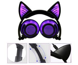 Image 3 - Holyhah fone de ouvido bluetooth wireless, fone de ouvido infantil de gato piscante dobrável, presente de aniversário, fone de ouvido gamer com luz led