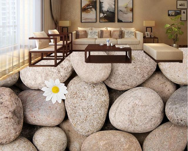3d Floor Wallpaper Self Adhesive White Flowers Pebbles For Kitchen Painting