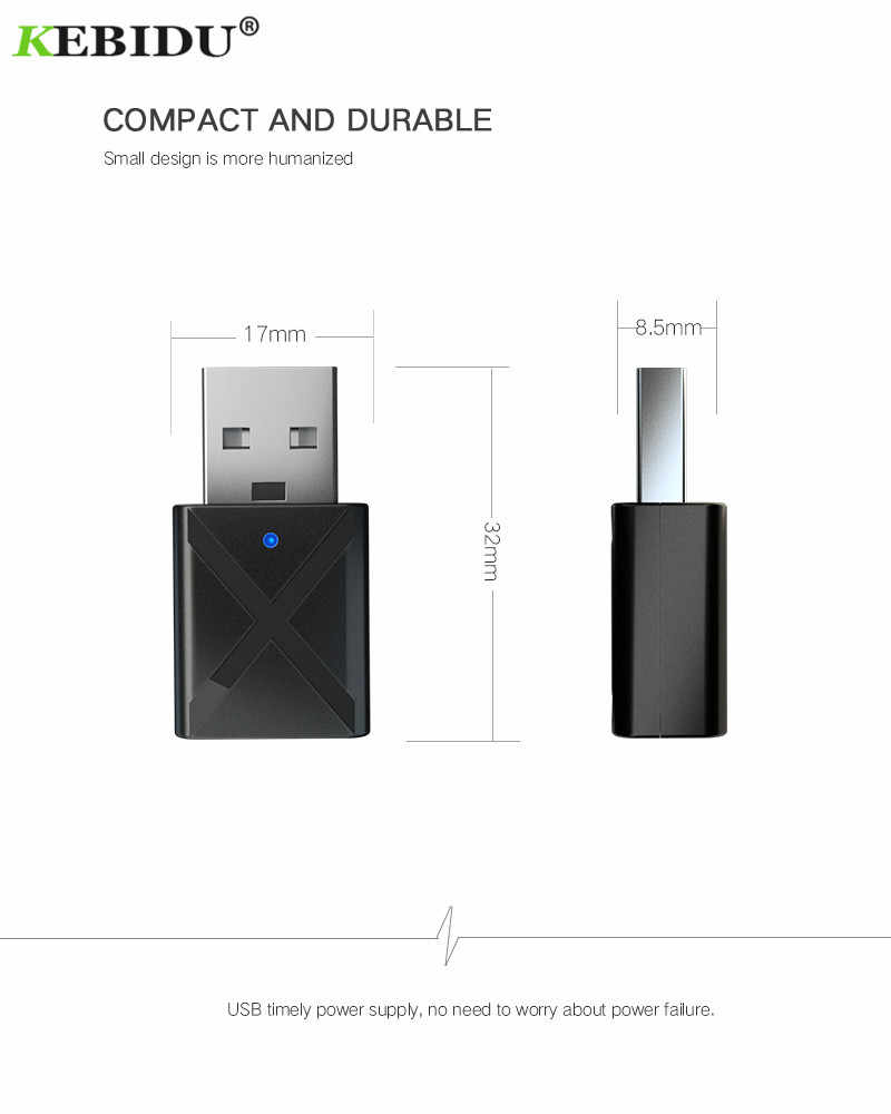 KEBIDU 2 in 1 Bluetooth Transmitter Receiver V5.0 Mini 3.5mm AUX Stereo Wireless Bluetooth Adapter For Car Music For TV Newest