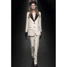 New fashion Ivory slim fit womens business suits black lapel female trouser suits ladies office uniform elegant pant suits