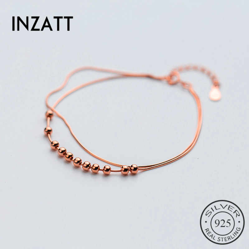 INZATTClassic Real 925 Sterling Silver Double Snake Chain 3mm Rose Gold Bead Bracelet For Women Party Minimalist Fashion Jewelry