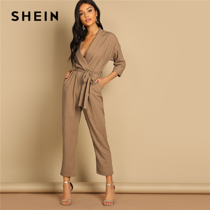 bd78ed74f49f SHEIN Camel Slant Pocket Belted Notch Neck 100% Cotton Jumpsuit 2019 Women  Three Quarter Length Sleeve High Waist Jumpsuit-in Jumpsuits from Women s  ...