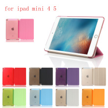 New PC Leather Case for Apple iPad Mini 4 5 Fashion Smart Cover + translucent back A1550`A1538 A2133 A2124 A2126