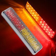 2Pcs 24LED Car LED Tail Lights Stop Turn Signal Lamp for Automobiles Truck Trailer Lorry Red Yellow 12V with Plating Border