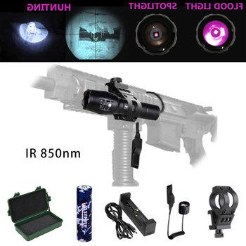 Ir Flashlight 850nm Zoomable LED Hunting Rifle Scope Lantern  Infrared Radiation IR Light Night Vision Torch For Night Hunting 10w ir 940nm infrared night vision hunting flashlight led outdoor tactical weapon torch 18650 charger 3 rifle scope mount switch