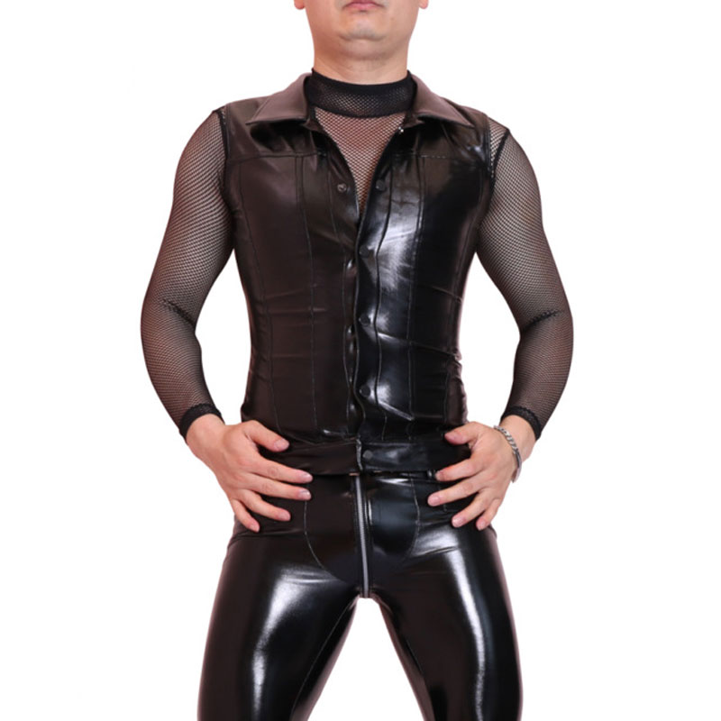 XXL Sexy Men Faux Leather Slim Vest Black PVC Shiny Jumpsuit Sexy Bodysuit Punk Club Dan ...