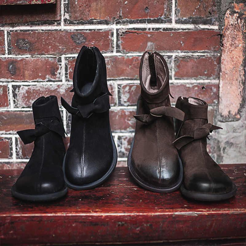 Kadın Kışlık Botlar 2019 sıcak ayakkabı Düşük Topuklu Hakiki Deri Kadın Martin Çizmeler Siyah Marka Ayakkabı yarım çizmeler Üzerinde Kayma Ilmek