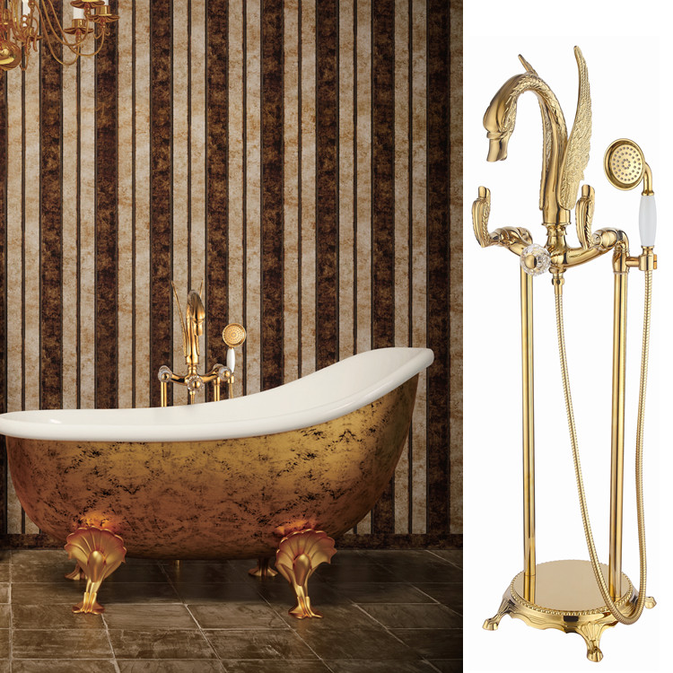 antique floor standing gold finish pvd swan bath shower bathtub faucet with hand shower crystal handles or swan handles