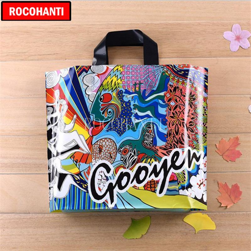 ROCOHANTI 10X Fashion Personality Graffiti Pattern Plastic Bag Eco-Friendly Reusable Sho ...