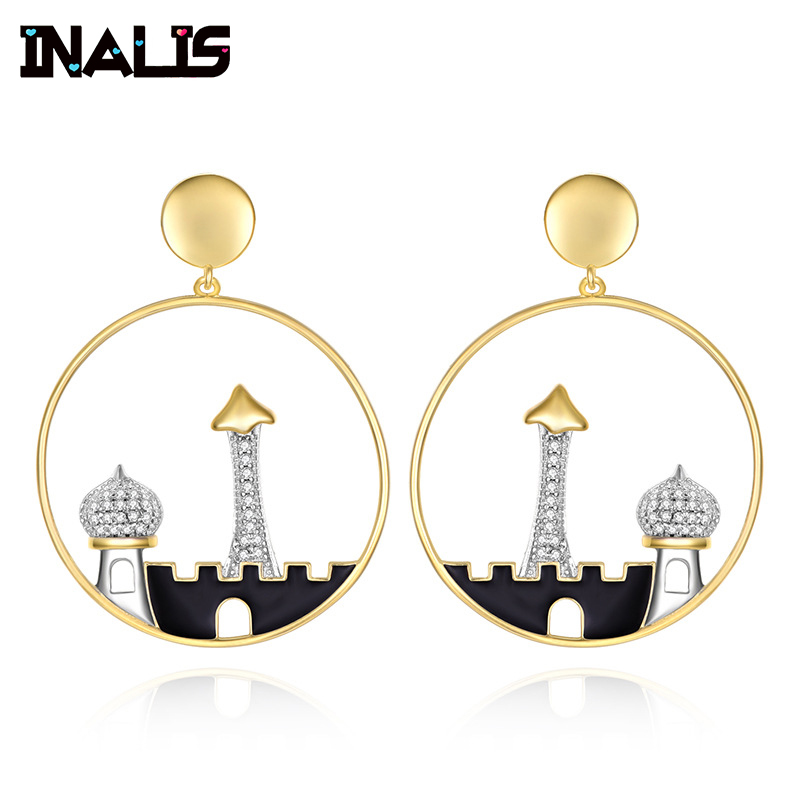 INALIS Pure 925 Sterling Silver Drop Earrings For Women Castle Clear CZ Crystal Gemstone Brincos Birthday Gift Fine Jewelry