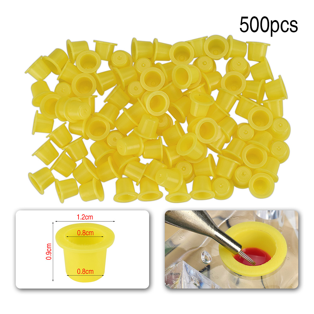 500pcs Plastic Tattoo Ink Cup Yellow Blue Cap Pigment Holder Disposable Permanent Makeup Container Holder Tattoo Accessory TSLM2