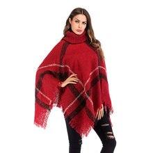 a208874f74cbbf Beiläufige Gestrickte Ponchos Und Capes Frauen Kleidung 2018 Herbst Winter  Damen Rollkragen Plaid Pullover Batwing Sleeve