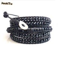2015 Free Shipping Black Crystal Black Leather Wrap Bracelet